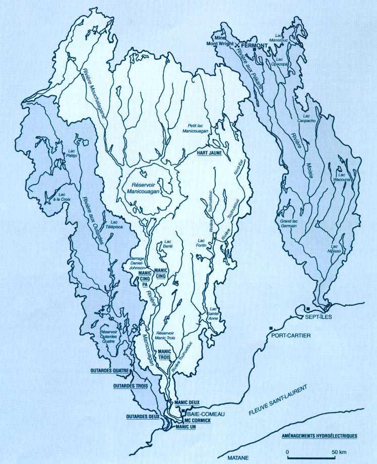Qualité des eaux des rivières aux outardes, manicouagan et