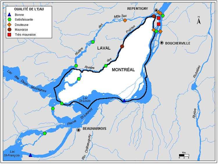 Qualité de l'eau des rivières de la région de montréal